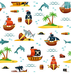 Pirate ships and treasures seamless pattern vector