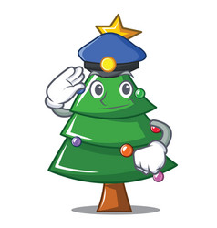 police christmas tree character cartoon vector image