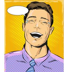 Pop art laughing man vector