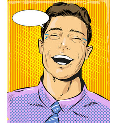 pop art of laughing man vector image