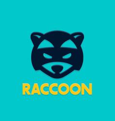 Raccoon logo template head coon vector