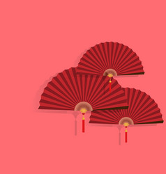 red chinese folding fans vector image