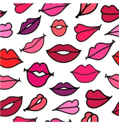 Red hand drawn kisses lips seamless vector
