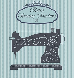 Retro sewing machine with floral ornament on vector