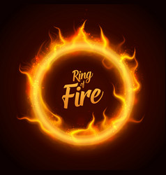 Ring of orange fire with sparks procedural vector
