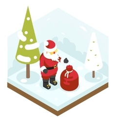 Santa Claus Grandfather Frost Bag Gifts New Year vector