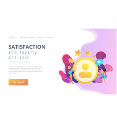 Satisfaction and loyalty analysis concept landing vector