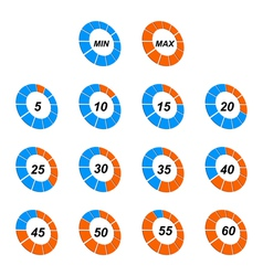 Scale of stopwatch in different positions vector image