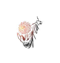 Scientific research physics concept sketch hand vector