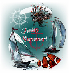 Sea background with fishes and ship hello summer vector
