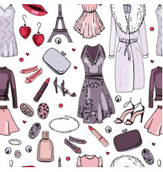 seamless pattern with woman clothes endless vector image