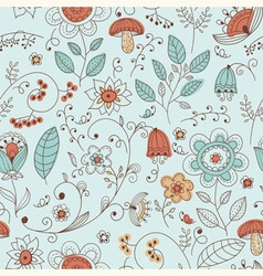 Seamless summer doodle style floral pattern vector