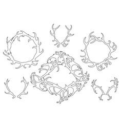 Set black outline deer horns round frames vector