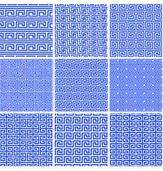 set ethnic greek seamless tiled patterns vector image