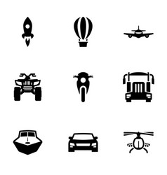 Set icons on a theme transport vector