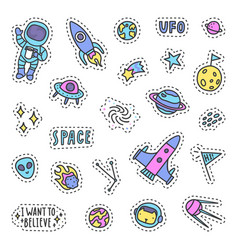 set of space pins patches vector image