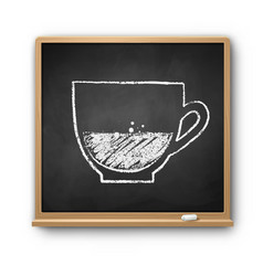 square chalkboard with chalked coffee cup vector image
