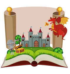 storybook with knight and castle vector image