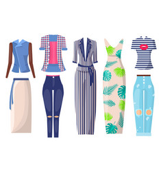 Summer mode set of items vector