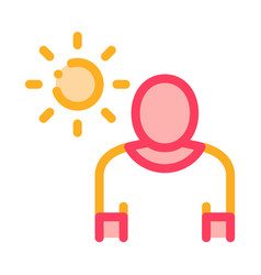 Sun exposure for man icon outline vector