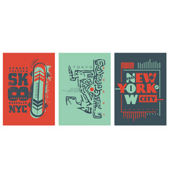 Tee shirt or apparel design trendy collection vector