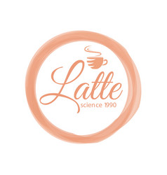 Thematic coffee logo with lettering latte science vector