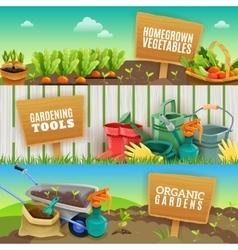 Three Gardening Horizontal Banners vector