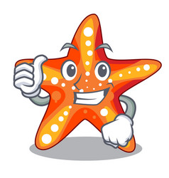 Thumbs up starfish in the cartoon shape funny vector