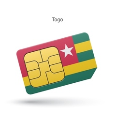 Togo mobile phone sim card with flag vector