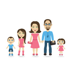 traditional family with mom dad and three kids vector image