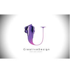 u letter design brush paint stroke purple u vector image