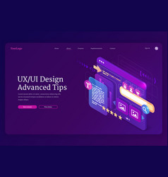 ui ux design advanced tips isometric landing page vector image