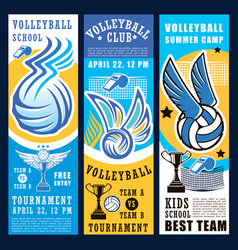 Volleyball sport game ball net and trophy cup vector