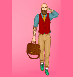 walking stylish hipster man pop art vector image