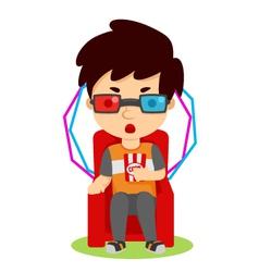 Watching 3D movie vector