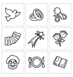 Wedding Agency icons vector