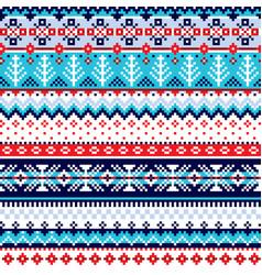 Winter fair isle knitwear style pattern vector