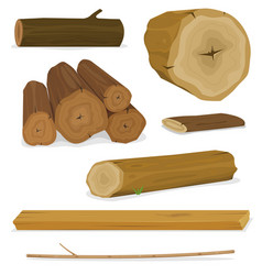 Wood logs trunks and planks set vector