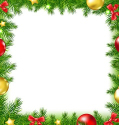 Xmas fir tree frame with red ribbon and stars vector