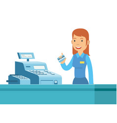 young girl cashier are happy can work at vector image