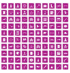 100 guns icons set grunge pink vector