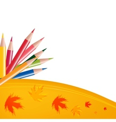 Abstract background with color pencils and leaves vector image vector image