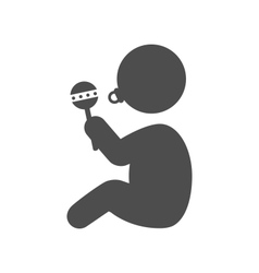 Baby with beanbag and dummy pictogram flat icon vector image vector image