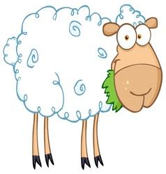 barnyard sheep eating grass vector image vector image