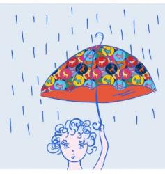 child umbrella vector image vector image