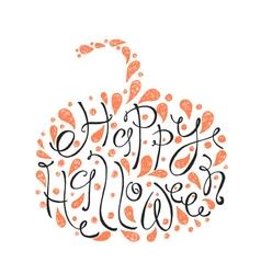 Happy Halloween text Hand drawn sketch Beautiful vector image