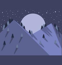 night mountain landscape flat style full moon vector image vector image