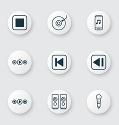 set of 9 music icons includes music control run vector image