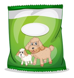 A green dogfood pouch with an empty label vector image vector image