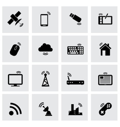 black wireless icon set vector image